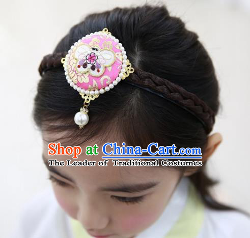 Traditional Korean Hair Accessories Embroidered Butterfly Pink Hair Clasp, Asian Korean Wedding Hanbok Hair Decorations Headwear for Kids