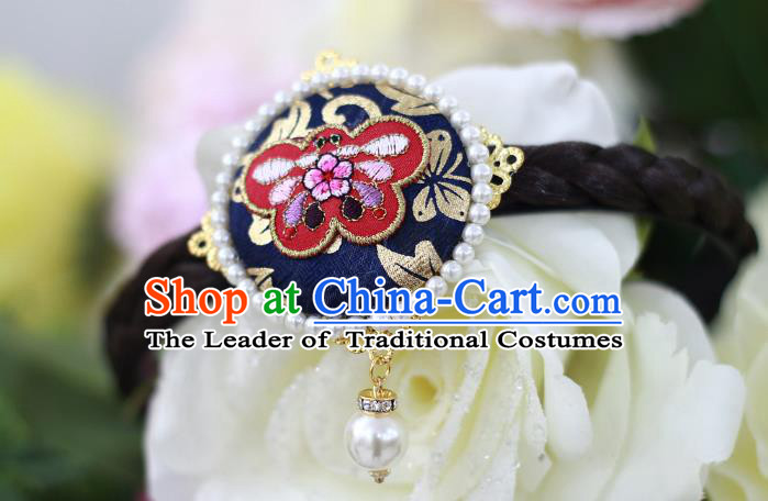 Traditional Korean Hair Accessories Embroidered Butterfly Deep Blue Hair Clasp, Asian Korean Wedding Hanbok Hair Decorations Headwear for Kids