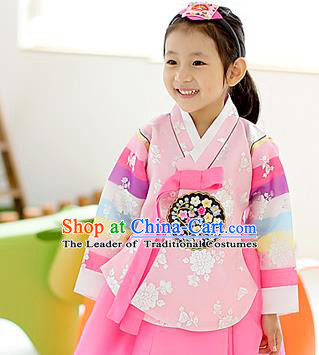 Korean National Handmade Formal Occasions Embroidered Pink Blouse, Asian Korean Girls Palace Hanbok Shirts Costume for Kids