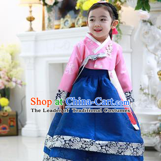 Korean National Handmade Formal Occasions Embroidered Pink Blouse and Blue Dress, Asian Korean Girls Palace Hanbok Costume for Kids