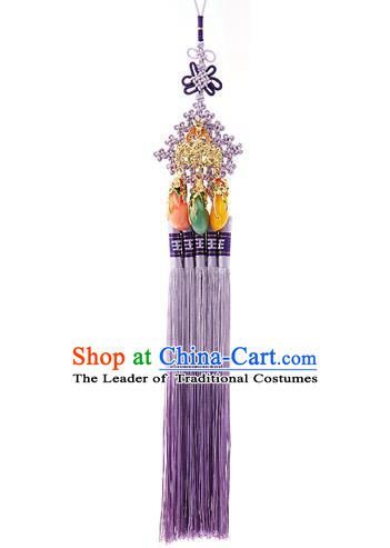Traditional Korean Accessories Waist Pendant Chinese Knot Palace Taeniasis, Asian Korean Wedding Hanbok Purple Tassel Waist Decorations for Women