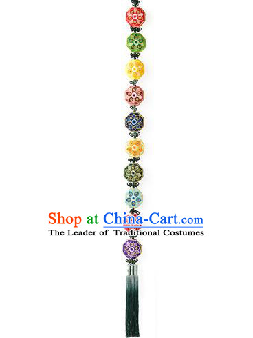 Traditional Korean Accessories Waist Pendant Embroidered Chinese Knot Palace Taeniasis, Asian Korean Wedding Hanbok Tassel Waist Decorations for Women