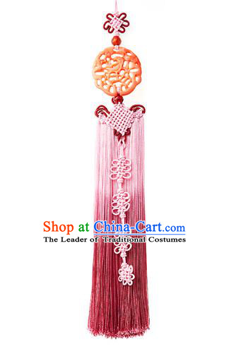 Traditional Korean Accessories Waist Pendant Chinese Knot Palace Taeniasis, Asian Korean Wedding Hanbok Pink Tassel Waist Decorations for Women