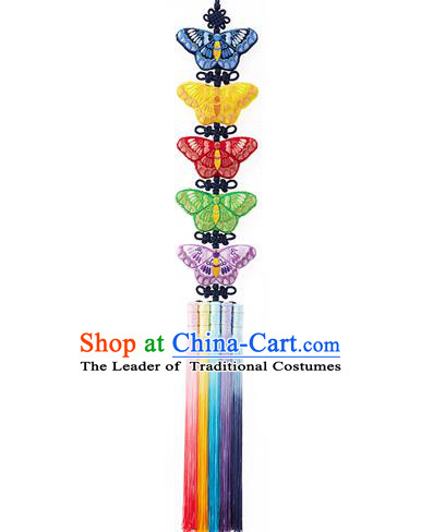Traditional Korean Accessories Waist Pendant Embroidered Butterfly Palace Taeniasis, Asian Korean Wedding Hanbok Tassel Waist Decorations for Women