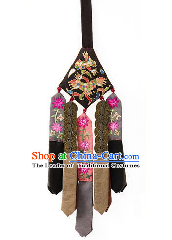 Traditional Korean Accessories Waist Pendant Embroidered Palace Taeniasis, Asian Korean Wedding Hanbok Copper Cash Tassel Waist Decorations for Women