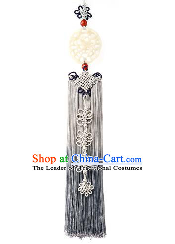 Traditional Korean Accessories Waist Pendant Chinese Knot Palace Taeniasis, Asian Korean Wedding Hanbok Grey Tassel Waist Decorations for Women