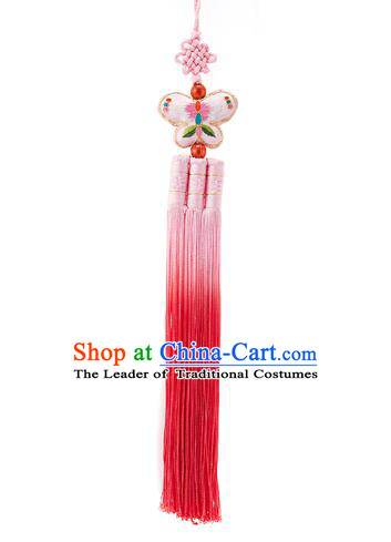 Traditional Korean Accessories Embroidered Butterfly Waist Pendant Chinese Knot Palace Taeniasis, Asian Korean Wedding Hanbok Pink Tassel Waist Decorations for Women