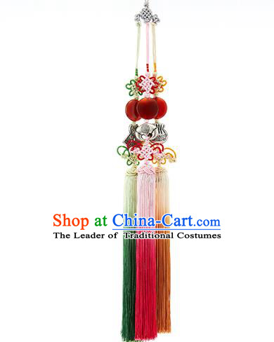 Korean National Accessories Bride Wedding Chinese Knots Waist Pendant, Asian Korean Hanbok Tassel Waist Decorations for Women