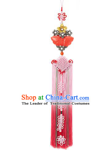 Korean National Belts Accessories Bride Wedding Jade Butterfly Chinese Knot Waist Pendant, Asian Korean Hanbok Orange Tassel Waist Decorations for Women