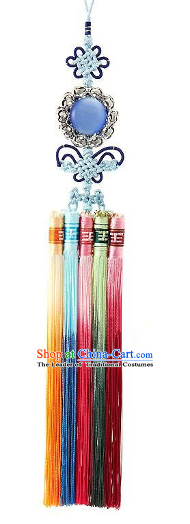 Korean National Belts Accessories Bride Wedding Blue Chinese Knot Waist Pendant, Asian Korean Hanbok Orange Tassel Waist Decorations for Women