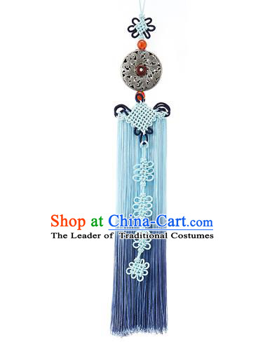 Asian Korean Hanbok Blue Tassel Waist Decorations, Korean National Belts Accessories Wedding Bride Waist Pendant for Women