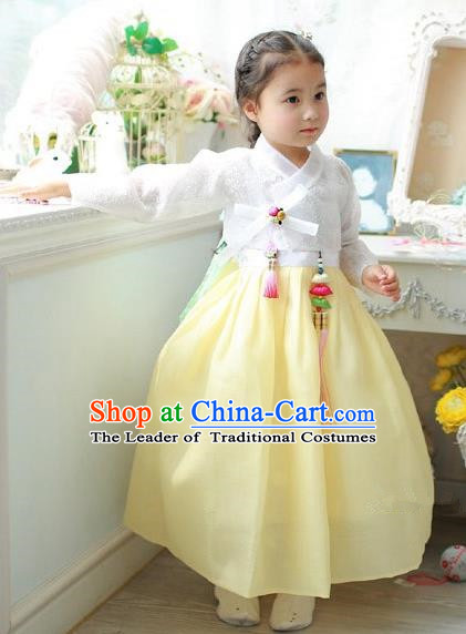 Asian Korean National Handmade Formal Occasions Embroidered White Blouse and Yellow Dress Hanbok Costume for Kids
