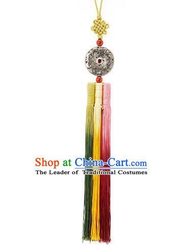 Korean National Belts Accessories Bride Wedding Waist Pendant, Asian Korean Hanbok Colorful Tassel Waist Decorations for Women