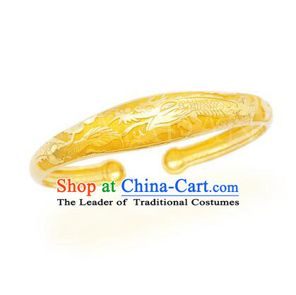 Asian Korean Hanbok Accessories Gold Dragon Longevity Bracelet for Baby