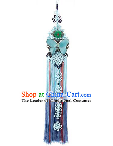 Korean National Belts Accessories Bride Wedding Hanbok Blue Butterfly Waist Pendant, Asian Korean Chinese Knot Tassel Waist Decorations for Women