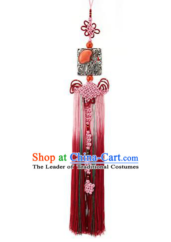 Korean National Belts Accessories Bride Wedding Hanbok Red Waist Pendant, Asian Korean Tassel Chinese Knot Waist Decorations for Women