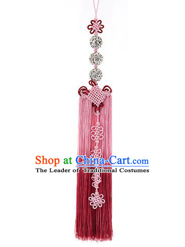 Korean National Belts Accessories Bride Wedding Hanbok Pink Waist Pendant, Asian Korean Tassel Chinese Knot Waist Decorations for Women