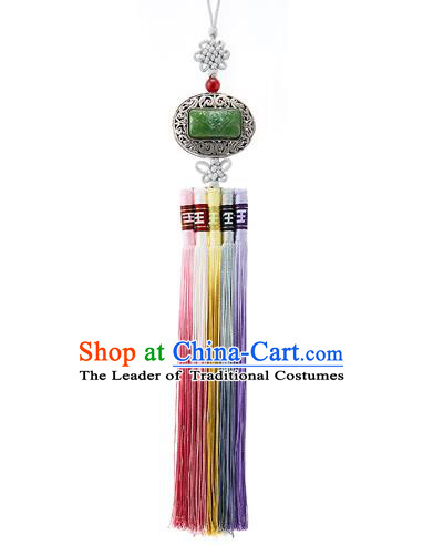 Korean National Belts Accessories Bride Wedding Hanbok Jade Tassel Waist Pendant, Asian Korean Waist Decorations for Women