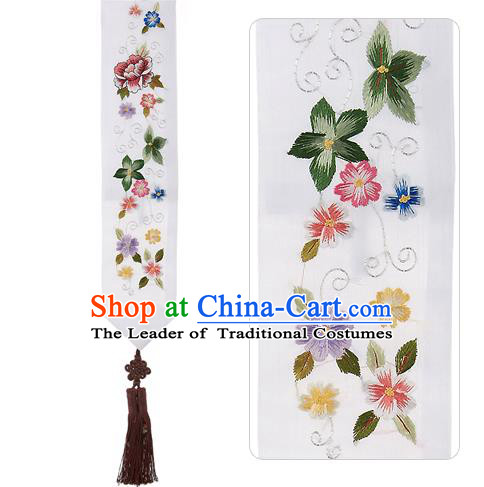 Asian Korean Embroidered Flowers White Waist Decorations, Korean National Belts Accessories Bride Wedding Hanbok Waist Pendant for Women