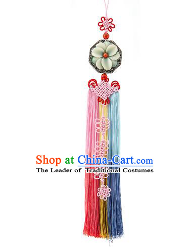 Asian Korean Chinese Knot Tassel Waist Decorations, Korean National Belts Accessories Bride Wedding Hanbok Waist Pendant for Women