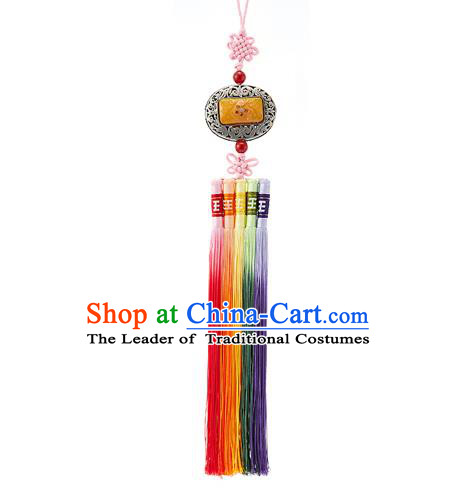 Asian Korean Chinese Knot Tassel Jade Waist Decorations, Korean National Belts Accessories Bride Wedding Hanbok Waist Pendant for Women