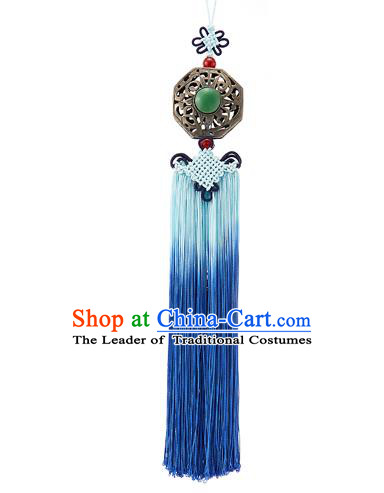 Asian Korean Chinese Knot Blue Tassel Jade Waist Decorations, Korean National Belts Accessories Bride Wedding Hanbok Waist Pendant for Women