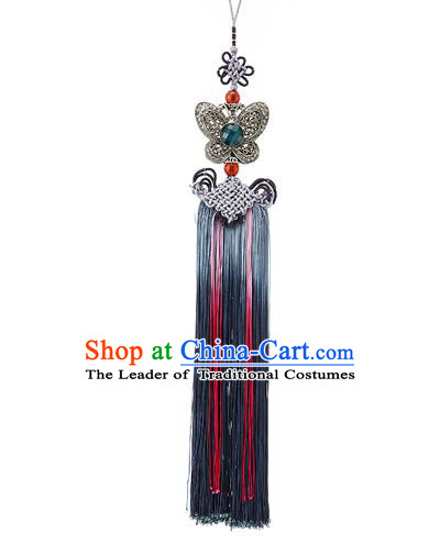 Asian Korean Chinese Knot Tassel Butterfly Waist Decorations, Korean National Belts Accessories Bride Wedding Hanbok Waist Pendant for Women