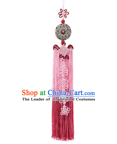 Asian Korean Chinese Knot Pink Tassel Waist Decorations, Korean National Belts Accessories Bride Wedding Hanbok Waist Pendant for Women