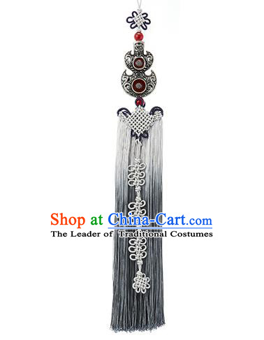Asian Korean Hanbok Grey Chinese Knot Tassel Waist Decorations, Korean National Belts Accessories Bride Wedding Waist Pendant for Women