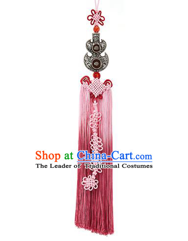 Asian Korean Hanbok Chinese Knot Pink Tassel Waist Decorations, Korean National Belts Accessories Bride Wedding Waist Pendant for Women