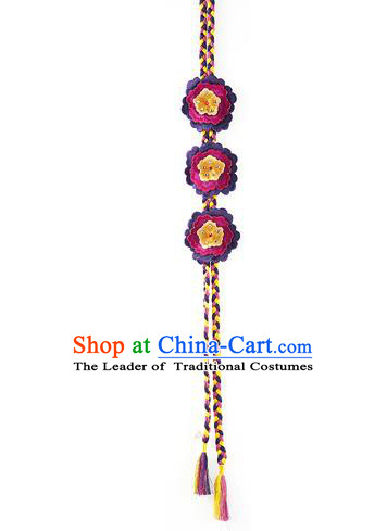 Asian Korean Hanbok Embroidered Purple Flower Tassel Waist Decorations, Korean National Belts Accessories Wedding Bride Waist Pendant for Women