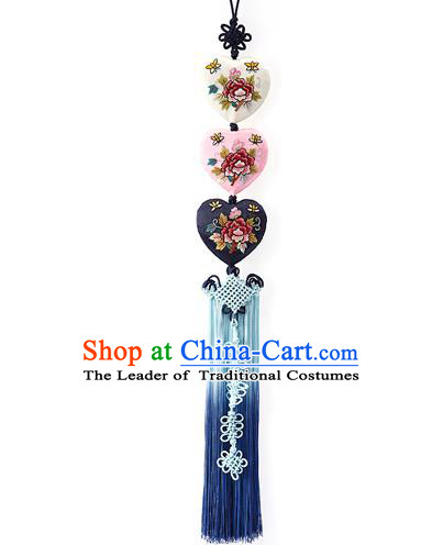Asian Korean Hanbok Embroidered Flowers Blue Tassel Waist Decorations, Korean National Belts Accessories Wedding Bride Waist Pendant for Women