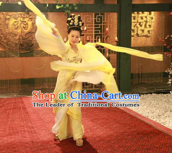 Traditional Chinese Southern and Northern Dynasties Palace Lady Fairy Dance Costume and Headpiece Complete Set