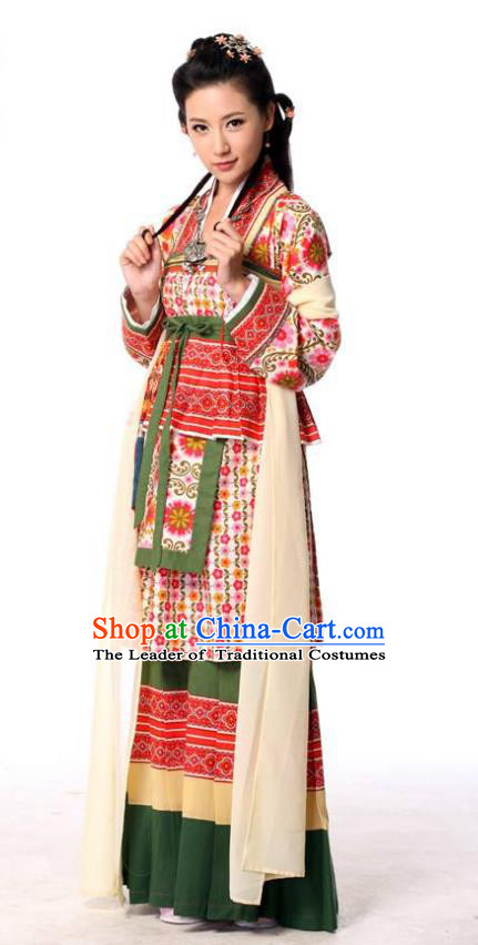 Traditional Chinese Southern and Northern Dynasties Chivalrous Swordswomen Embroidered Costume and Headpiece Complete Set