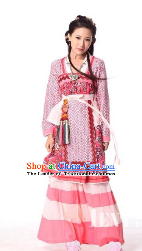 Traditional Chinese Southern and Northern Dynasties Young Lady Swordswomen Embroidered Costume