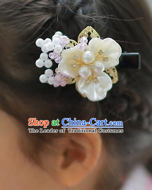 Korean National Hair Accessories Shell Flowers Hair Stick, Asian Korean Hanbok Fashion Headwear Hair Claw for Kids