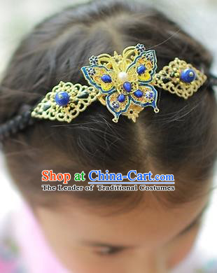 Korean National Hair Accessories Butterfly Hair Clasp, Asian Korean Hanbok Fashion Headwear Headband for Kids