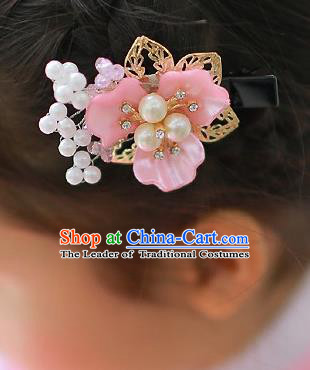 Korean National Hair Accessories Pink Shell Flower Hair Claw, Asian Korean Hanbok Fashion Headwear Hair Stick for Kids