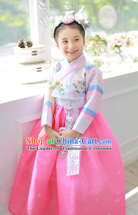 Asian Korean National Handmade Formal Occasions Embroidered White Blouse and Pink Dress Hanbok Costume for Kids