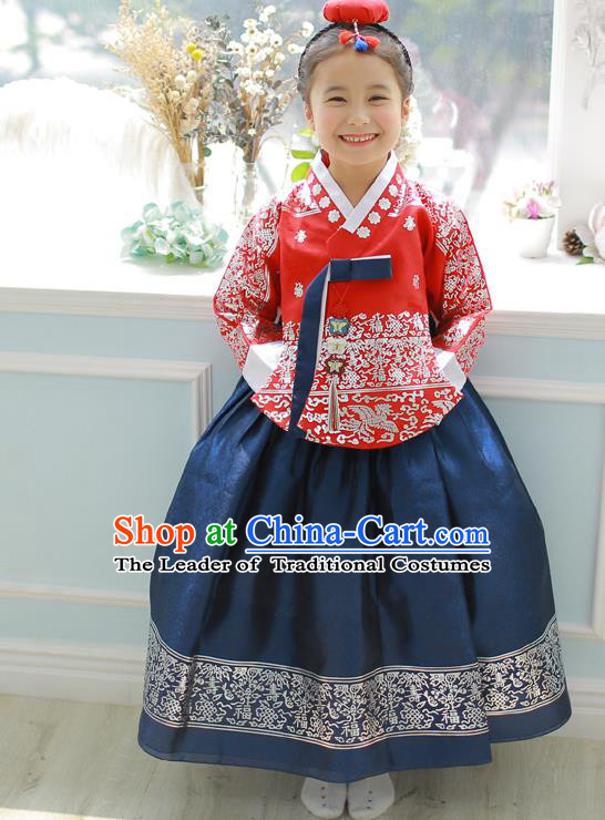 Asian Korean National Handmade Formal Occasions Embroidered Red Blouse and Blue Dress Hanbok Costume for Kids