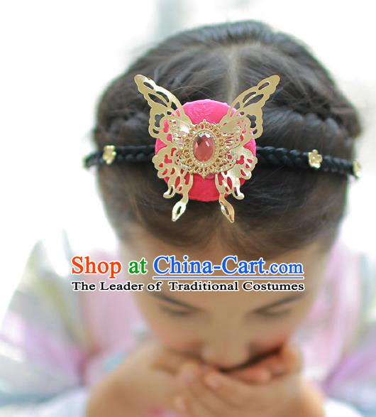 Korean National Hair Accessories Butterfly Red Hair Clasp, Asian Korean Hanbok Fashion Headwear Headband for Kids