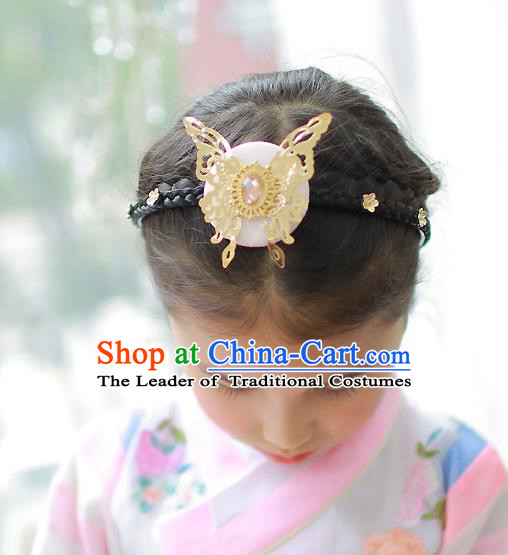 Korean National Hair Accessories Butterfly Pink Hair Clasp, Asian Korean Hanbok Fashion Headwear Headband for Kids