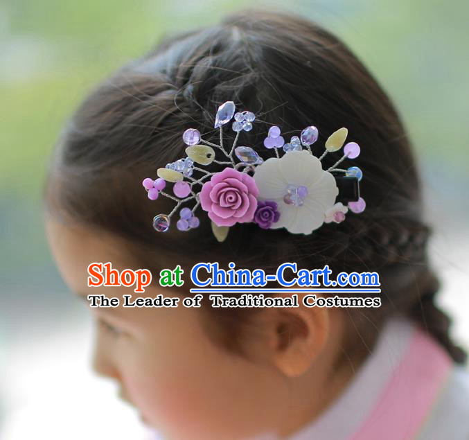 Korean National Hair Accessories Flowers Black Hair Stick, Asian Korean Hanbok Fashion Headwear Hair Claw for Kids