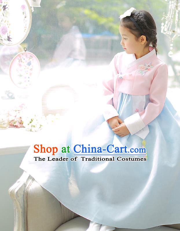 Asian Korean National Handmade Formal Occasions Embroidery Pink Blouse and Blue Dress Hanbok Costume for Kids