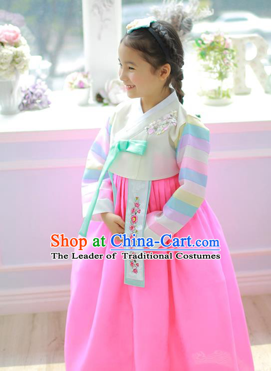 Asian Korean National Handmade Formal Occasions Embroidery Beige Blouse and Pink Dress Hanbok Costume for Kids