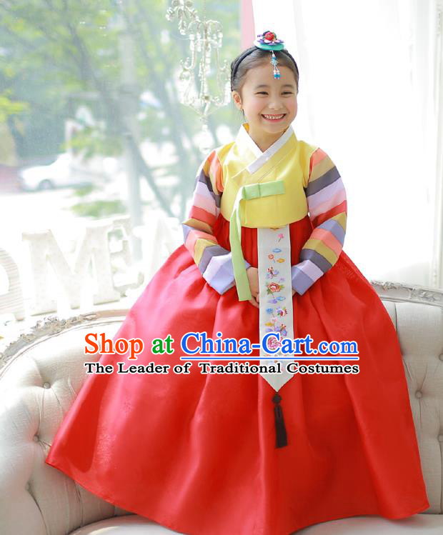 Asian Korean National Handmade Formal Occasions Embroidery Yellow Blouse and Red Dress Hanbok Costume for Kids