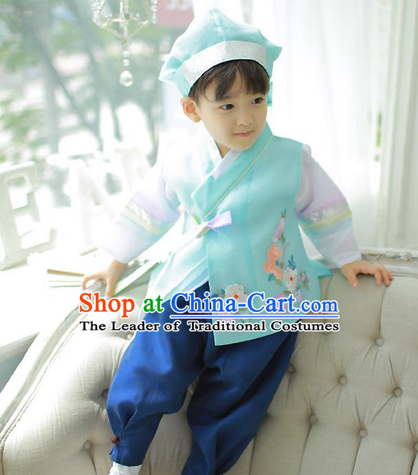 Asian Korean National Traditional Handmade Formal Occasions Boys Prince Embroidered Green Hanbok Costume Complete Set for Kids
