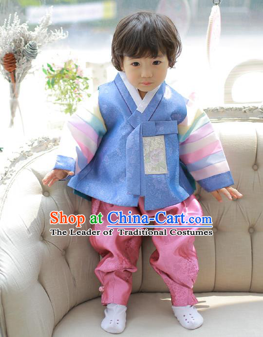Asian Korean National Traditional Handmade Formal Occasions Boys Prince Embroidered Blue Hanbok Costume Complete Set for Kids