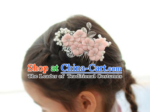 Korean National Hair Accessories Pink Flowers Hair Comb, Asian Korean Hanbok Fashion Headwear Hair Stick for Kids