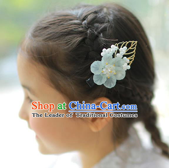 Korean National Hair Accessories Blue Flowers Hair Claw, Asian Korean Hanbok Fashion Headwear Hair Stick for Kids